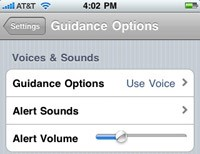 MapQuest 4 Mobile  iPhone Alert Volume Setting