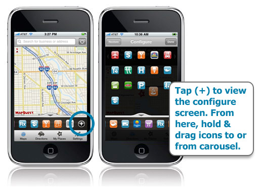 Add or Remove Categories in Toolbar on MapQuest 4 Mobile iPhone 