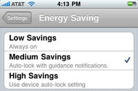 MapQuest 4 Mobile iPhone Energy Savings Setting