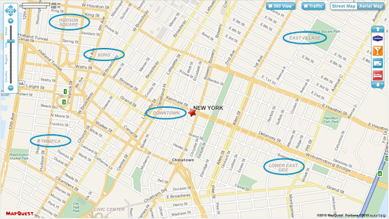 MapQuest map of New York City  Neighborhoods