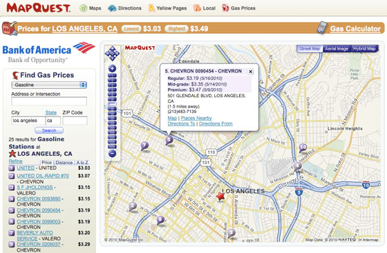 Find the cheapest gas in your area with MapQuest Gas Prices!