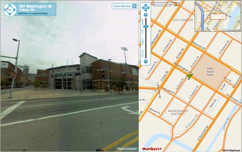 MapQuest 360 View of Fifth Third Field in Toronto.
