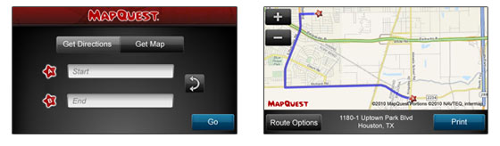 Get a MapQuest map, directions or do a local search from the  web-enabled HP printers.
