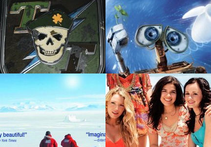 Clockwise from upper left: 'Tropic Thunder,' 'Wall-E,' 'The Sisterhood of the Traveling Pants 2,' ' Encounters at the End of the World'