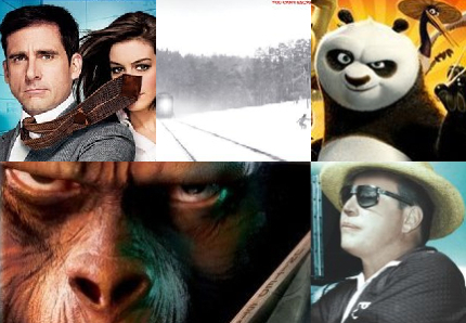 Clockwise from top left: Get Smart, Transsiberian, Kung Fu Panda, Budd Boetticher Box Set, Planet of the Apes 40th Anniversary Collection