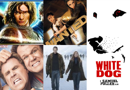 Clockwise from upper left: 'The Chronicles of Narnia: Prince Caspian,' 'Wanted,' 'White Dog,' 'The X-Files: I Want to Believe,' 'Step Brothers'