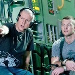 James Cameron and Sam Worthington on the set of 'Avatar'