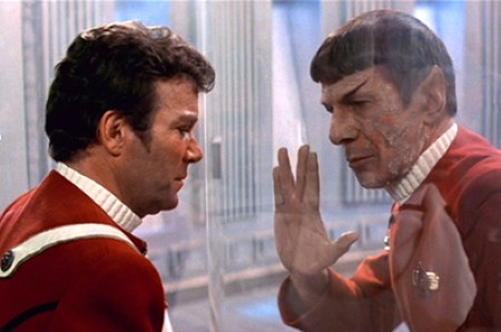 William Shatner and Leonard Nimoy in 'Star Trek II: The Wrath of Khan'