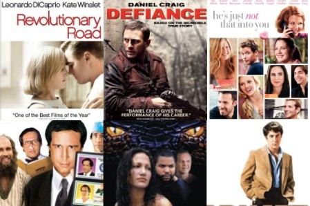 Clockwise from upper left: Revolutionary Road, Defiance, He's Just Not That Into You, The Graduate, Anaconda, Fletch