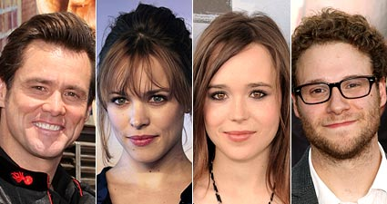 Jim Carrey, Rachel McAdams, Ellen Page and Seth Rogen