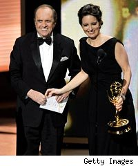 Bob Newhart and Tina Fey at the Emmy Awards