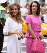 Sarah Jessica Parker and Kristen Davis on the set of Sex and the City 2
