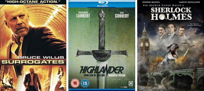 dvd blu-ray surrogates highlander sherlock holmes