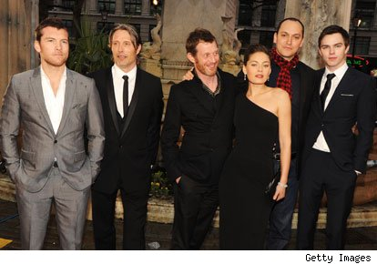 Sam Worthington, Mads Mikkelsen, Jason Flemyng, Alexa Davalos, Louis Letterier and Nicholas Hoult arrives at the World premiere of 'Clash Of The Titans' at the Empire Leicester Square