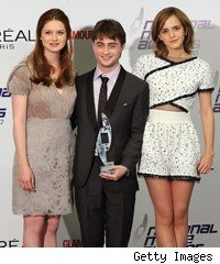 Bonnie Wright, Daniel Radcliffe and Emma Watson at the National Movie Awards
