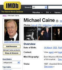 Screen shot of IMDB page