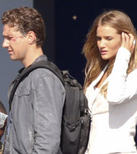 Shia LaBeouf and Rosie Huntington-Whiteley on set of Transformers 3