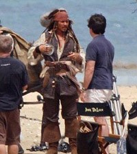 Johnny Depp on the set of Pirates of the Caribbean: On Stranger Tides
