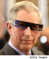 Prince Charles wearing 3D glasses