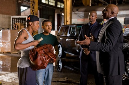 Brandon T. Jackson, Bow Wow, Terry Crews, and Keith David in 'Lottery Ticket'