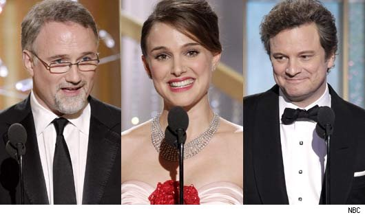 David Fincher, Natalie Portman and Colin Firth at the 2011 Golden Globes
