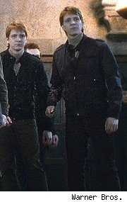 Oliver and James Phelps as Fred and George Weasley