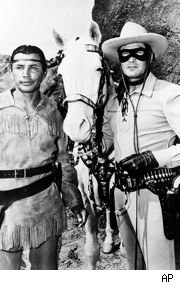 Jay Silverheels and Clayton Moore in TV's 'The Lone Ranger'