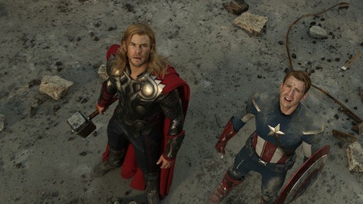 thorcapavengerssmall Chris Evans Offers the Many Pensive Faces of Captain America in New Avengers Pics