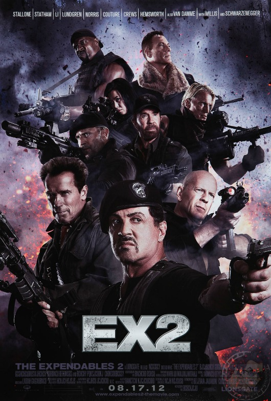 expend2 poster 1 The Expendables 2 Poster: Sylvester Stallone, Arnold Schwarzenegger and Bruce Willis Shoot Guns