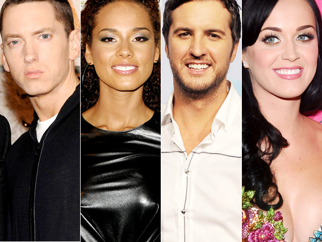 Eminem Alicia Keys Luke Bryan Katy Perry