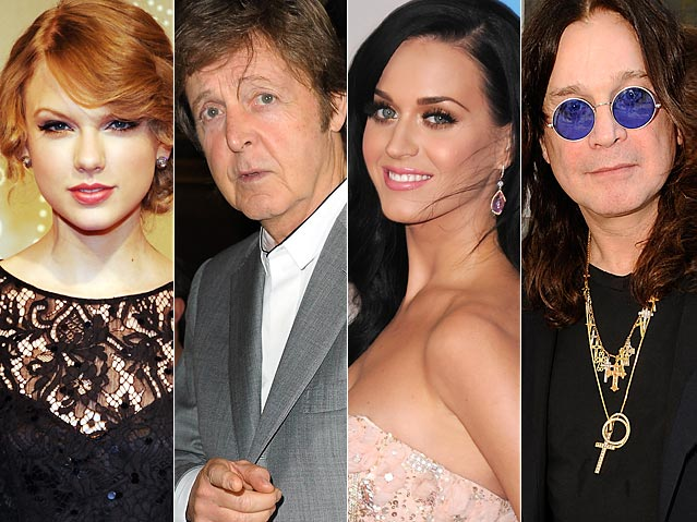 Taylor Swift, Paul McCartney, Katy Perry, Ozzy Osbourne