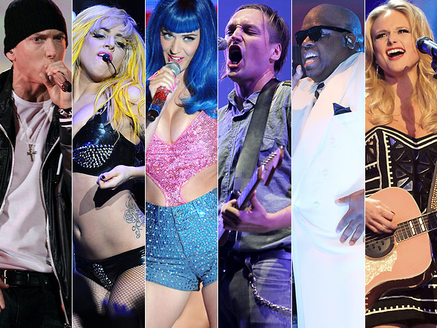 Eminem Lady Gaga Katy Perry Winn Butler Cee Lo Green and Miranda Lambert