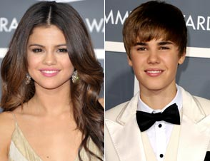 Justin Bieber and Selena Gomez at Grammys
