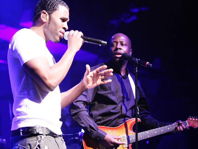 Jason Derulo and Wyclef Jean at the AOL/Maxim Super Bowl Party.
