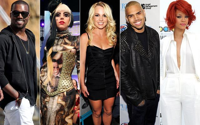 Kanye West, Lady Gaga, Britney Spears, Chris Brown, Rihanna