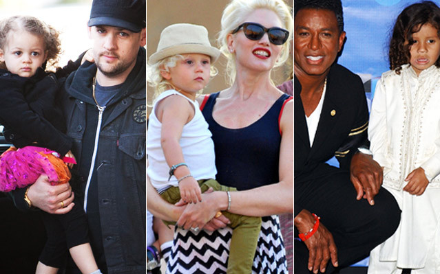 Joel Madden and daughter Gwen Stefani and son, Jemaine Jackson and son