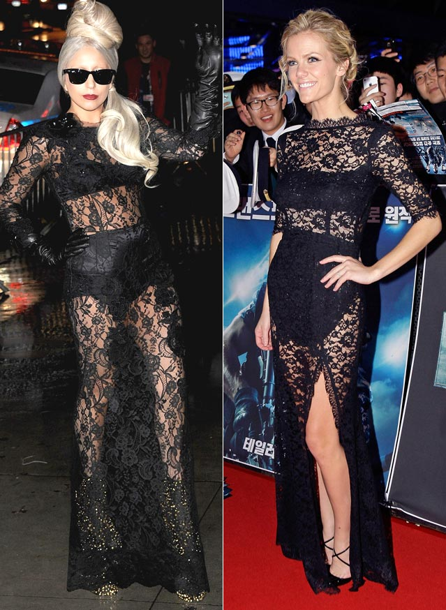lady gaga fashion lace dress