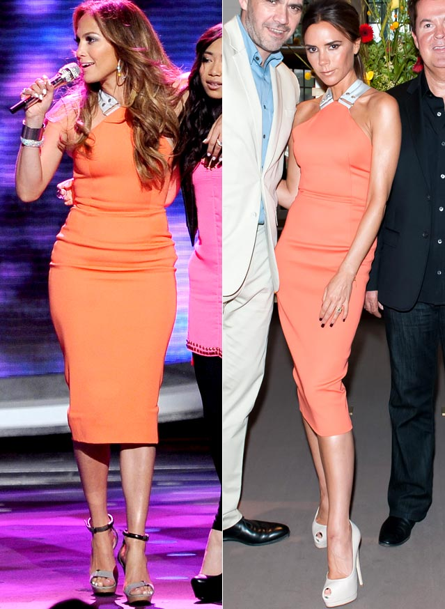 Jennifer Lopez Victoria Beckham orange dress