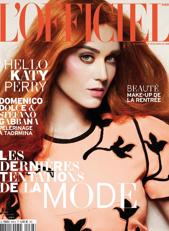 katy perry red hair l'officiel september 2012