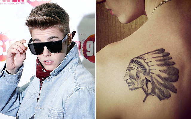 justin bieber new indian head tattoo