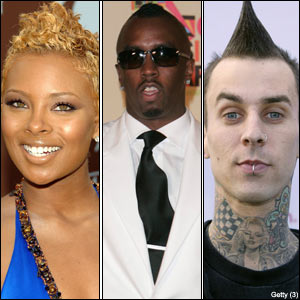 Eva, Diddy and Travis Barker