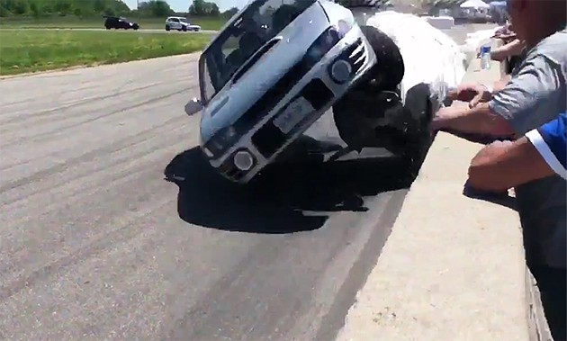 Subaru WRX flips on track
