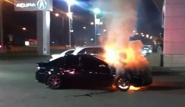 Acura TL trade-in burns at Ontario dealership