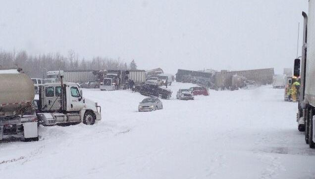 Alberta, Canada snowstorm chain-reaction crash aftermath