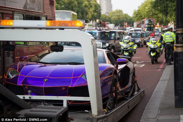 love it or hate it this purple orange and chrome glow in the dark lamborghini aventador certainly makes a big splash freshly arrived in london