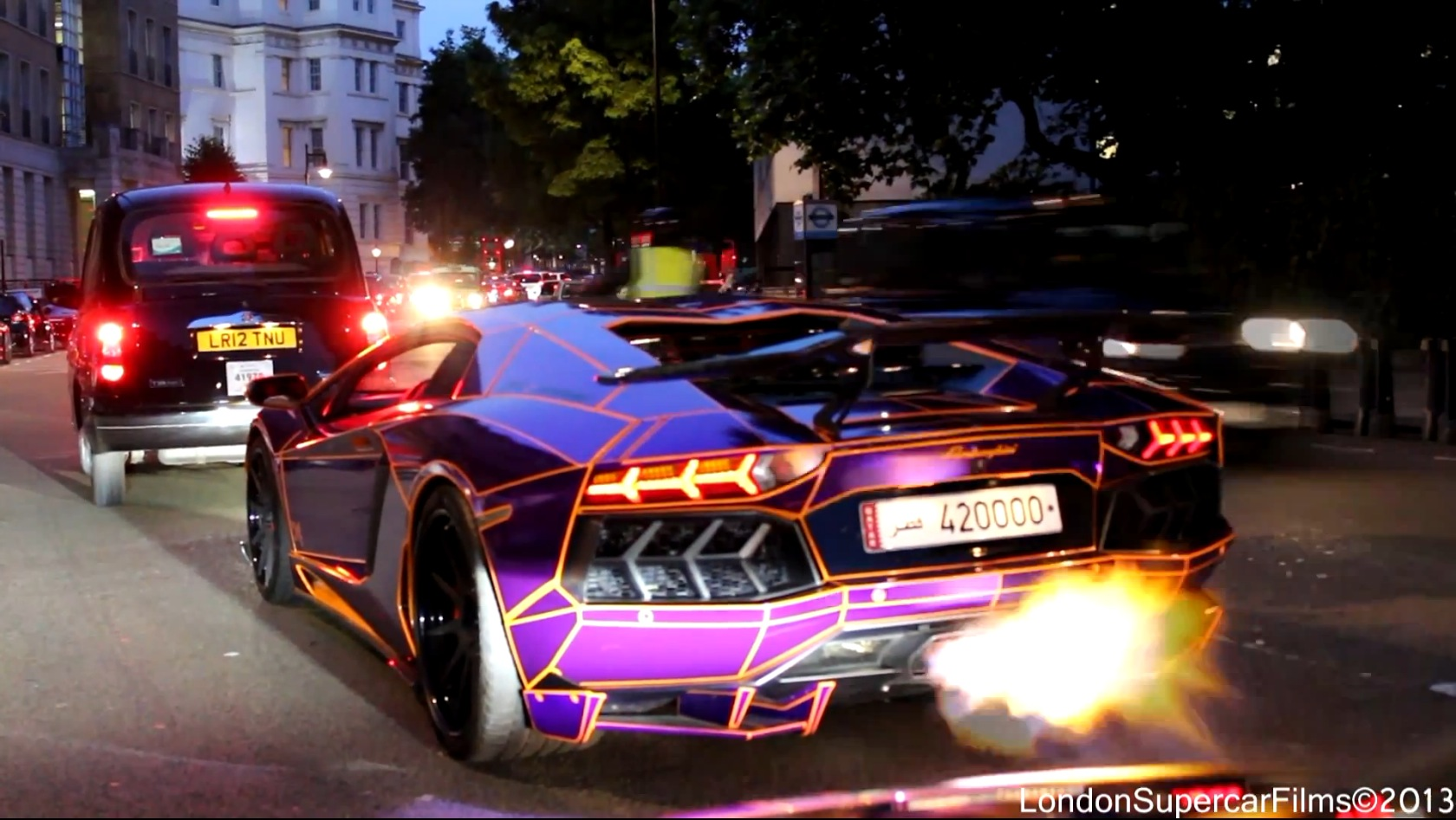 in case you missed it we ran a piece on this tron tastic purple orange chrome glow in the dark lamborghini aventador equipped with adv1 custom