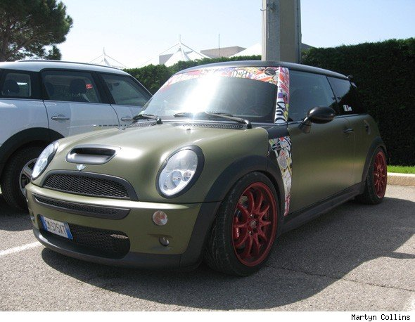 Camo green sticker bombed MINI Cooper S