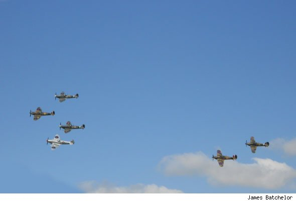 Four Spitfires and two Hurricanes