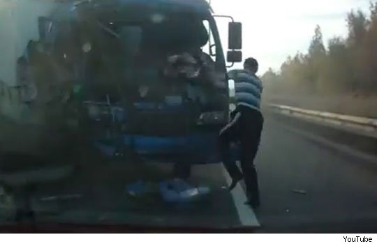 Russian truck driver's miraculous escape