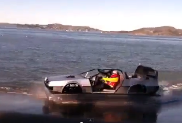 Mad scientist creates DeLorean Hovercraft